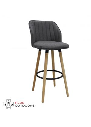 Wooden Bar Stools Kitchen Swivel Bar Stool Chairs Leather -Grey