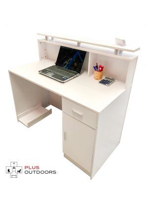 Small White Reception Desk Counter 1.2M