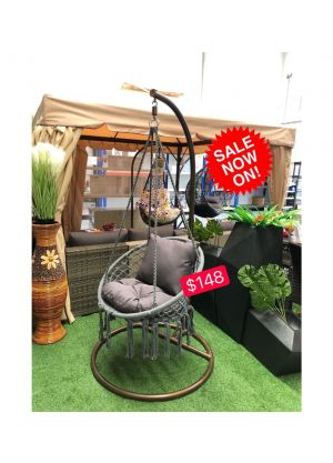 HANGING HAMMOCK CHAIR OUTDOOR/INDOOR (CHAIR & CUSHION & STAND)-Charcoal #08