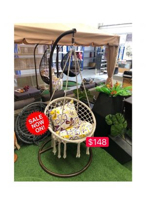 HANGING HAMMOCK CHAIR OUTDOOR/INDOOR (CHAIR & CUSHION & STAND)-White #08