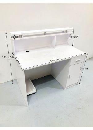 White Reception Desk Counter 1.5M