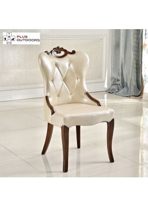 2 x French Provincial Dining Chair PU Leather Wooden Retro Chairs