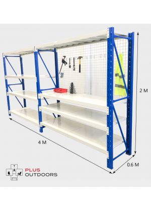 4m workbench shelving Blue & Grey set with 2m mash net