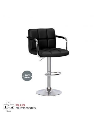 Bar Stools Kitchen Stool Leather Barstools Swivel Chairs Gas Lift Black