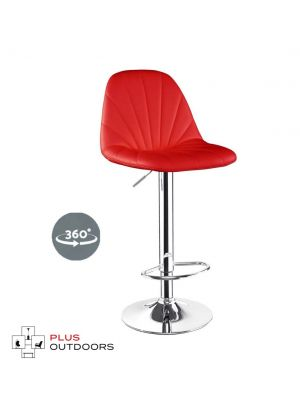 Bar Stools Kitchen Stool PU Leather Barstools Swivel Chairs Gas Lift Red