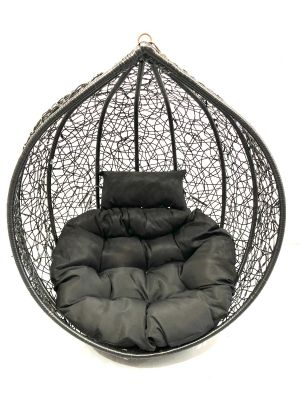 Hanging Egg Chair Large Cushion Replacement Swing Egg Chair-Black