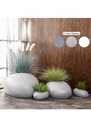 Rock shape Fibreglass Home Garden Pot For Indoor & Outdoor Use - Whole Set