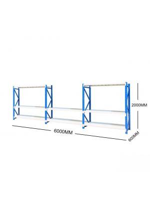 6M Metal Garage Shelving + Workbench Package (Blue & Grey)