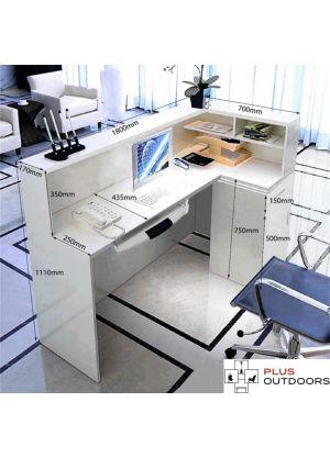 1.8M White Reception Desk Left or Right Counter Side