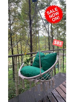 Hanging Hammock Chair Outdoor/Indoor (Chair & Cushion Only)-Charcoal