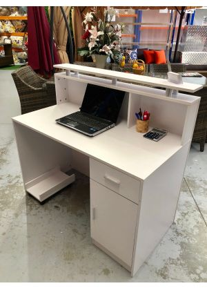 Brand New Small White Reception Desk Counter 1.2M