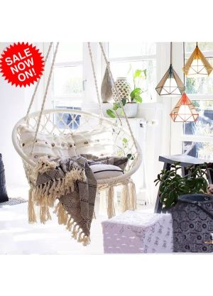 Hanging Hammock Chair Outdoor/Indoor (Chair & Cushion Only)-White