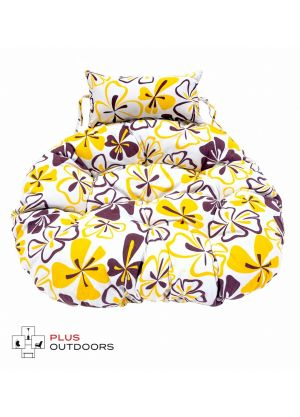 Hanging Egg Chair Large Cushion Replacements  for Swing Egg Chair use - YELLOW FLORAL
