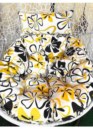 HANGING EGG CHAIR LARGE CUSHION REPLACEMENTS SWING EGG CHAIR- YELLOW FLORAL