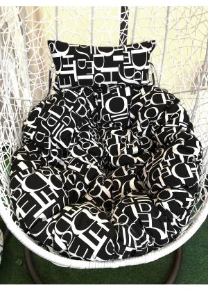 Hanging Egg Chair Large Cushion Replacements Swing Egg Chair-BLACK & WHITE LETTER