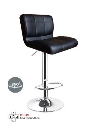 Leather Bar Stools Kitchen Chair Gas Lift Swivel Bar Stool -Black