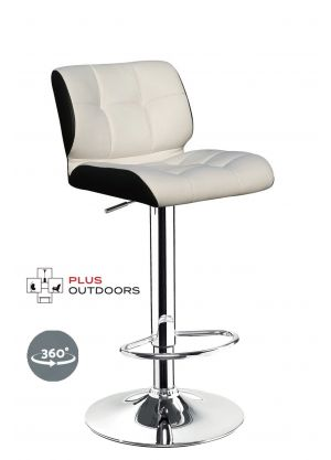 Leather Bar Stools Kitchen Chair Gas Lift Swivel Bar Stool -White