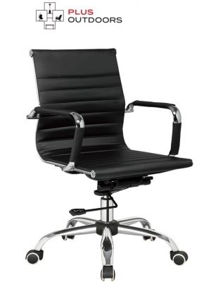 Office Chair Gaming Computer Chairs Medium Back Seating PU Leather - Black