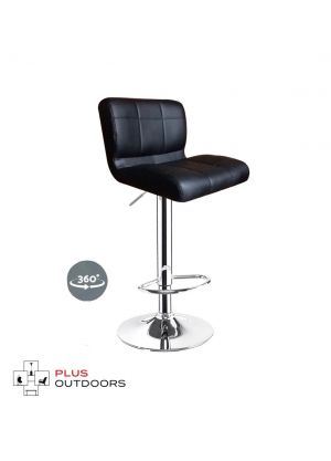 Leather Bar Stools Kitchen Chair Gas Lift Swivel Bar Stool -Black