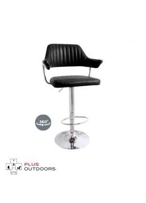 PU Leather Bar Stools Kitchen Chair Gas Lift Swivel Bar Stool - Black