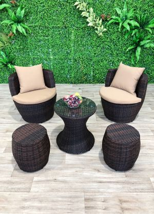 London Stackable Lounge Set-5 Piece (2 chairs & 2 Stools)