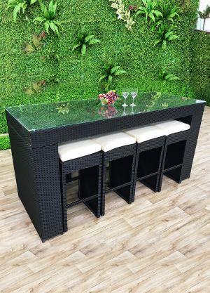 Villa 9 Piece Outdoor Rectangular Bar Setting