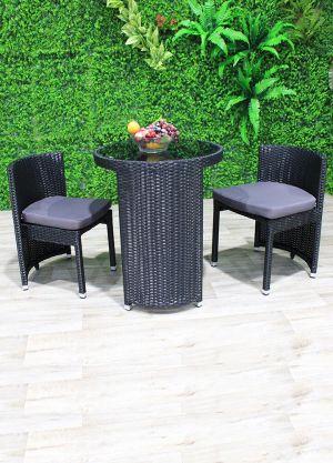 Terrace 3 piece Outdoor Circular Dining-Black