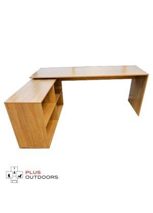 Simple L Shaped Corner Computer Desk-Tan