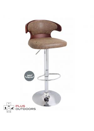 Wooden Bar Stools Kitchen Swivel Bar Stool Chairs Leather Brown