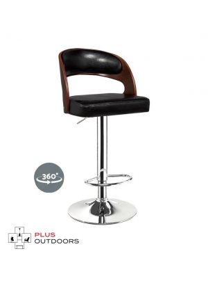 Wooden Bar Stools Kitchen Swivel Bar Stool Chairs PU Leather Black