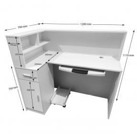 1.2M White Reception Desk Left or Right Counter Side